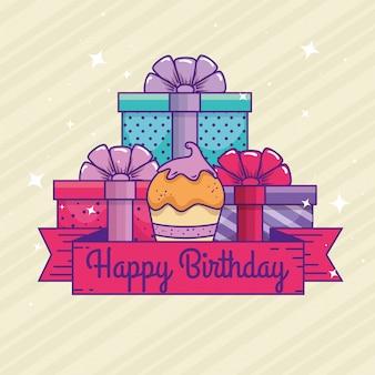 Présente des cadeaux avec un muffin et un ruban pour un joyeux anniversaire