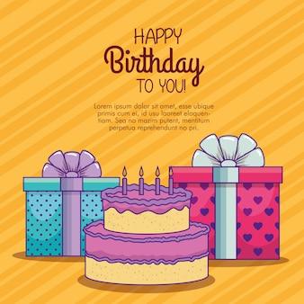 Présente des cadeaux avec un ruban et un gâteau avec des bougies