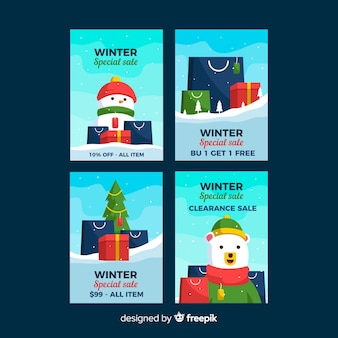 Présente la collection de cartes de soldes d'hiver