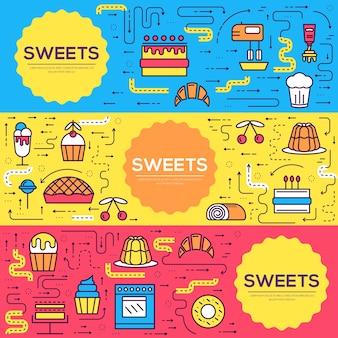 Présentoir à gâteaux en ligne fine de cartes de magasin