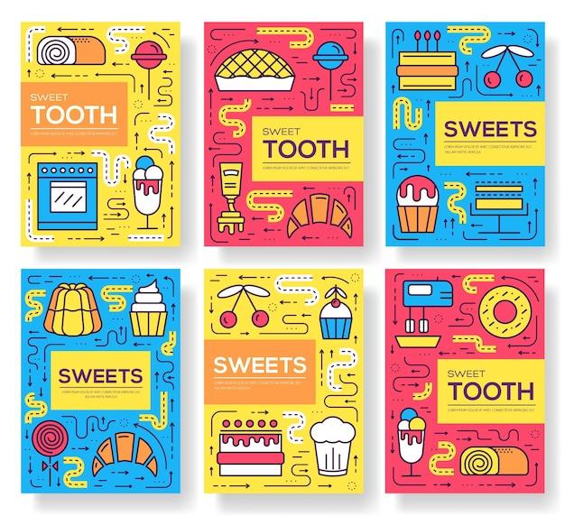 Présentoir à gâteaux en ligne mince de cartes de brochure de vecteur de magasin