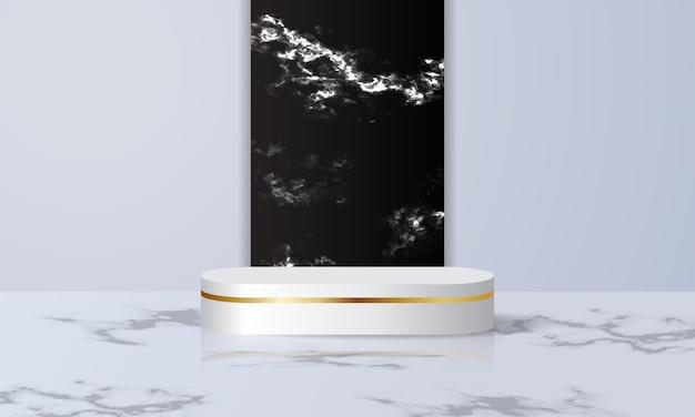 Présentoir podium moderne blanc pour exposition de produits avec sol et mur en marbre