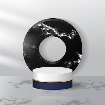 Présentoir podium moderne avec marbre noir et blanc