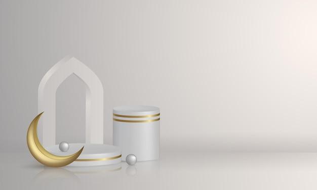 Présentoir De Produit De Podium Islamique 3d Avec Lanterne Arabe Vecteur Premium