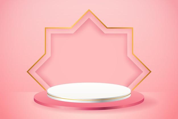 Présentoir de produits 3d podium rose et blanc avec étoile d'or pour le ramadan
