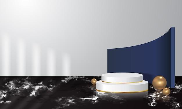 Présentoir de produits moderne et réaliste décoré d'une sphère dorée