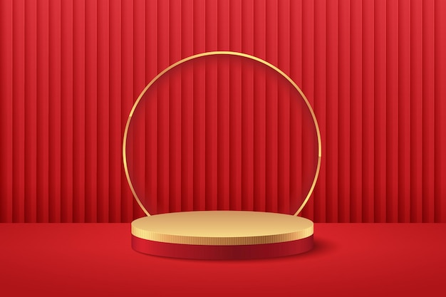 Présentoir rond abstrait rouge et or pour la présentation du produit