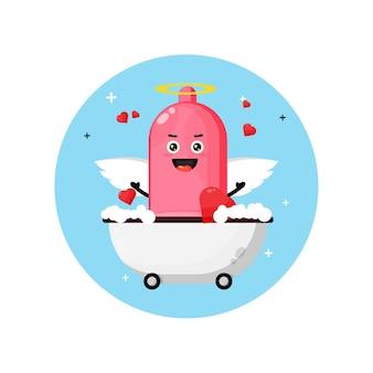 Préservatif d'ange mignon trempant dans une baignoire d'amour