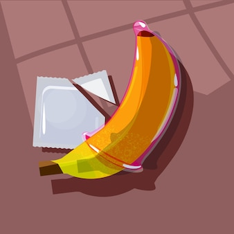 Préservatif sur une banane. concept de sexe sans risque - illustratiion