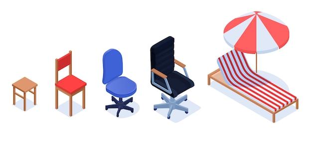 Préside le concept d'indicateur de croissance de carrière. croissance de carrière de la personne sous forme de chaises.
