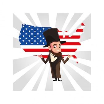Le président abraham lincoln avec carte des états-unis