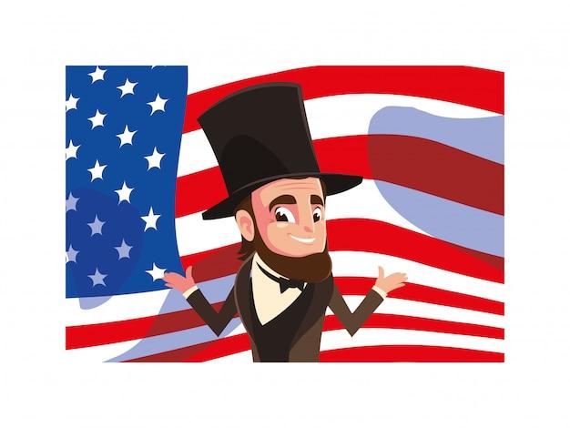 Le président abraham lincoln avec le drapeau des états-unis, le président day card