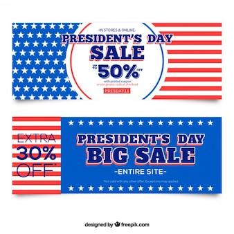 Présidents américains jour ventes bannières