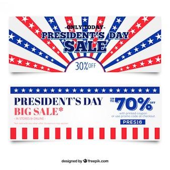 Presidents day ventes bannières