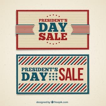 Présidents rétro bannières de vente d'un jour