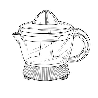 Presse-agrumes sur fond blanc. illustration dans le style de croquis.