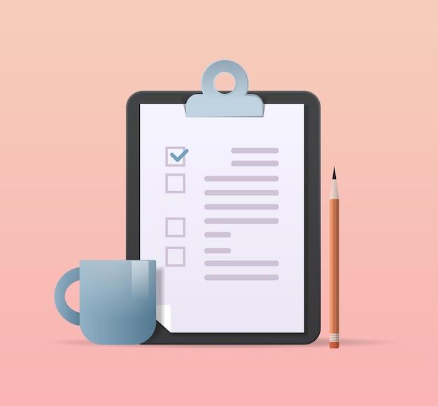 Presse-papiers avec coche signe objectif de tâche d'entreprise réalisations concept de calendrier de planification