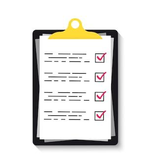 Presse-papiers avec des coches vertes. presse-papiers avec icône de liste de contrôle pour le web. liste de contrôle, tâches complètes, liste de tâches, sondage, concepts d'examen.