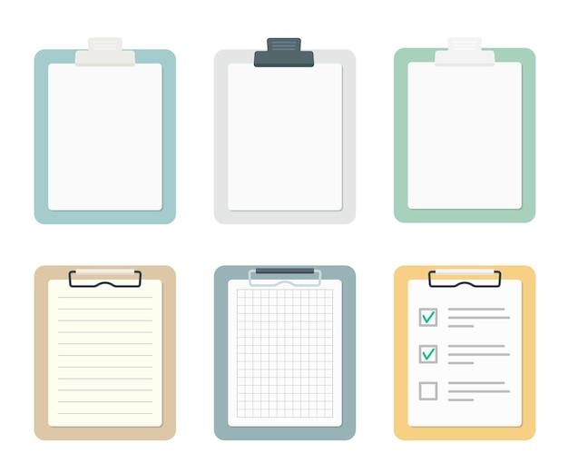 Presse-papiers colorés avec jeu de feuilles de papier. collecte de fournitures scolaires et de bureau. illustration vectorielle plane isolée sur fond blanc