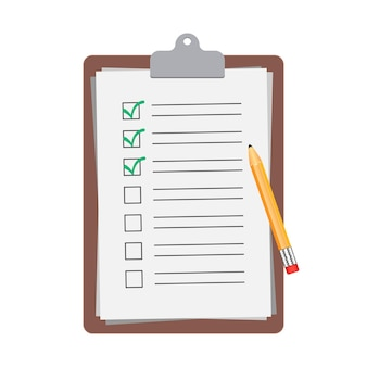 Presse-papiers avec crayon isolé, illustration de document de liste de contrôle.