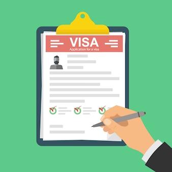 Presse-papiers avec demande de visa.