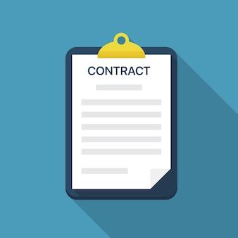 Presse-papiers avec document contractuel dans un design plat avec ombre portée