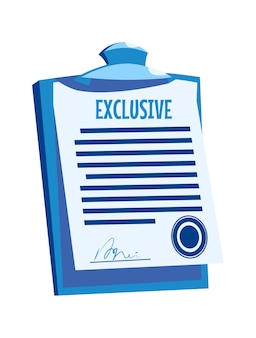 Presse-papiers avec document papier, accord de signature avec joint, illustration de vecteur de dessin animé isolé sur blanc