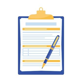 Presse-papiers avec document et stylo isolé sur fond blanc.