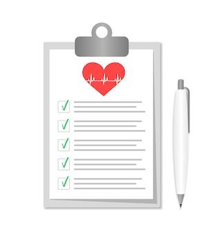 Presse-papiers avec documents hospitaliers. formulaires d'assurance médicale avec pan.