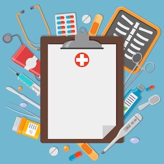 Presse-papiers avec des éléments médicaux