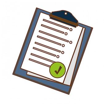 Presse-papiers avec une feuille sur l'image de l'icône