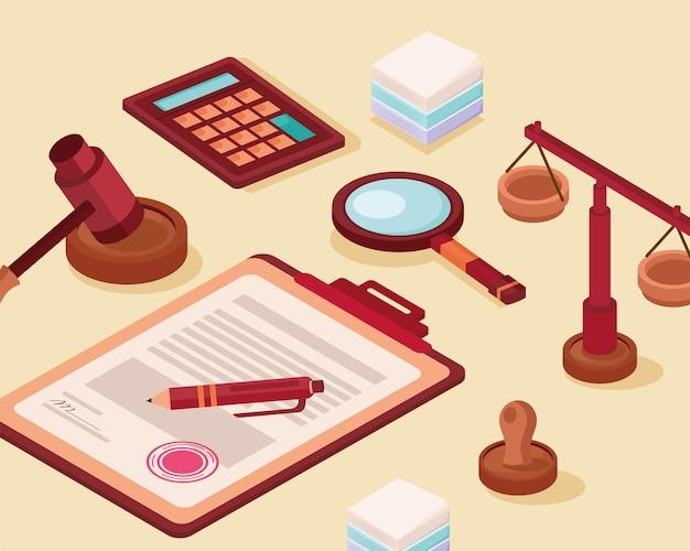 Presse-papiers et icônes juridiques