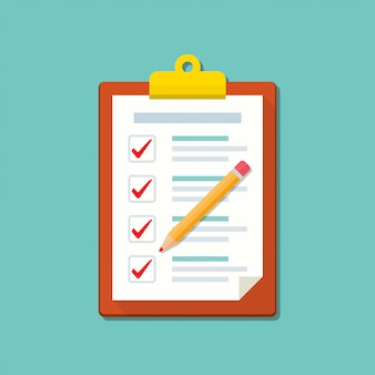 Presse-papiers avec une liste de contrôle et un crayon