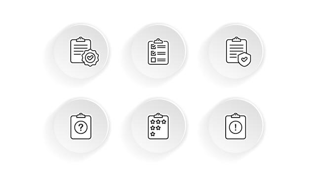 Presse-papiers, liste de contrôle, jeu d'icônes de quiz. questionnaire et sondage. vecteur sur fond blanc isolé. eps 10.