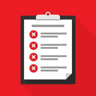 Presse-papiers avec une liste de contrôle, tâches non terminées. rejeté ou non confirmé. illustration vectorielle eps 10