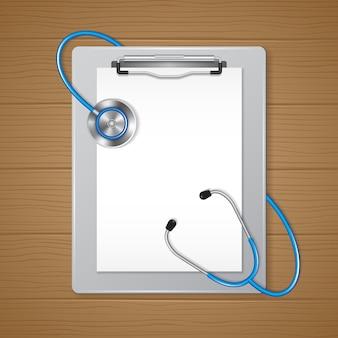 Presse-papiers médical et papier avec stéthoscope