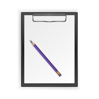 Presse-papiers noir avec feuille blanche vierge et crayon réaliste