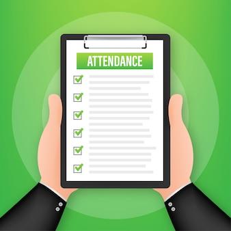 Presse-papiers de présence avec liste de contrôle. homme d'affaires détenant un document. questionnaire, sondage. illustration vectorielle