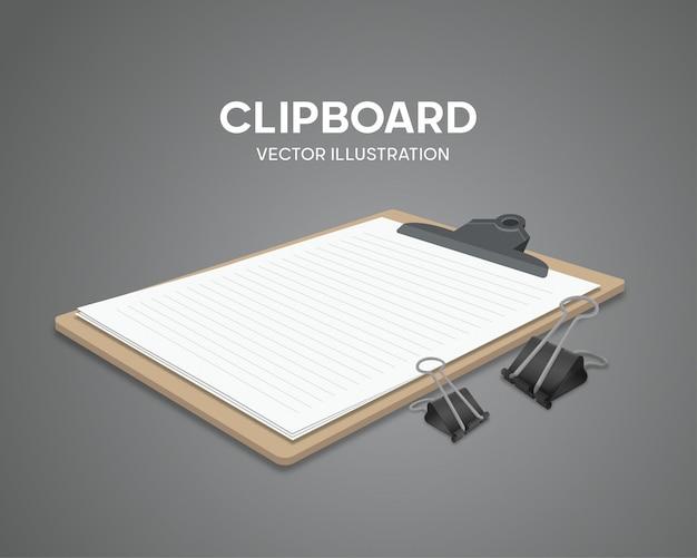 Presse-papiers réalistes avec feuille de papier blanc vierge et vecteur de clips