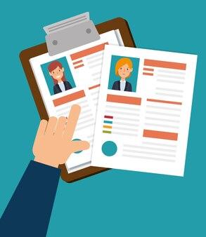Presse-papiers ressources humaines embauché design isolé