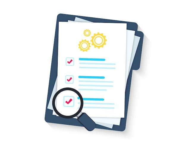 Presse-papiers de service. presse-papiers ou liste de contrôle. liste de contrôle technique. liste de contrôle du support technique, solution de loupe, mise à niveau logicielle. prestations d'essais. conditions techniques