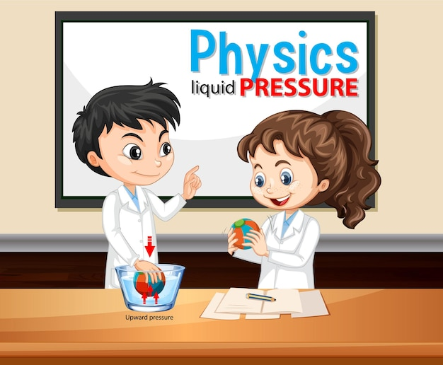 Pression liquide de physique avec le personnage de dessin animé d'enfants scientifiques