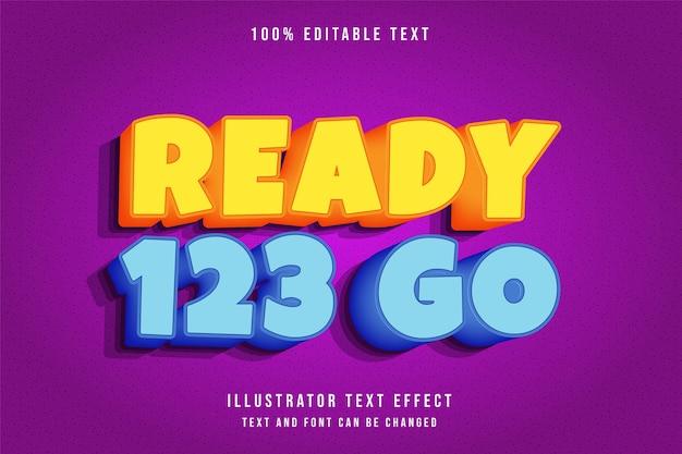 Prêt 123 aller, effet de texte modifiable 3d style or orange jaune