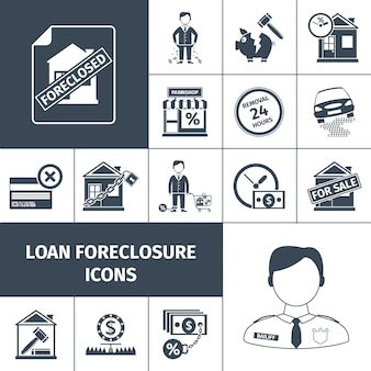 Prêt foreclosure icons black