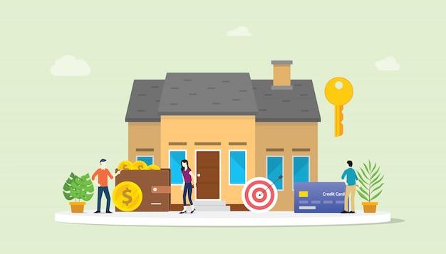 Prêt hypothécaire ou maison immobilier acheter avec personnes et maison