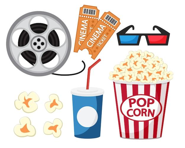 Prêt pour aller au cinéma sur un fond blanc.