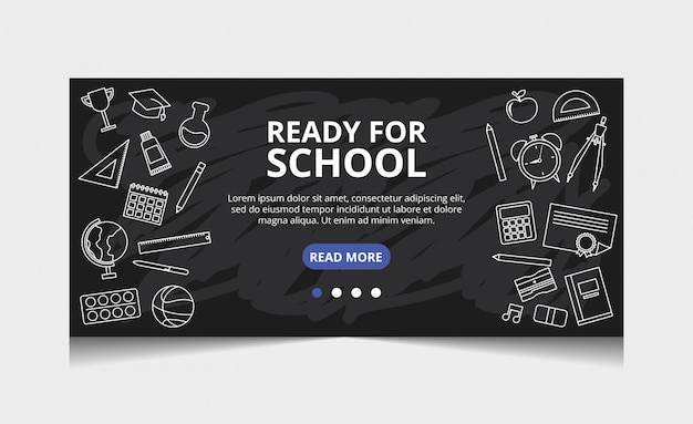 Prêt pour l'école. vecteur de page de destination
