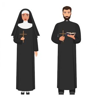 Prêtre catholique et religieuse tenant croix rood.