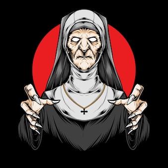 Prêtre effrayant et illustration