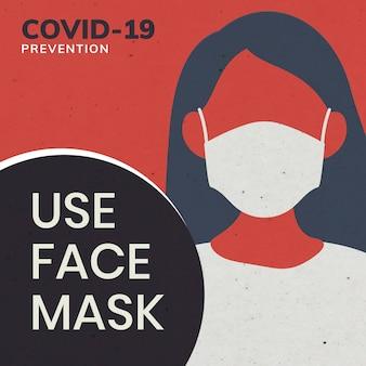 La prévention de covid-19 utilise une publicité sociale sur un masque facial